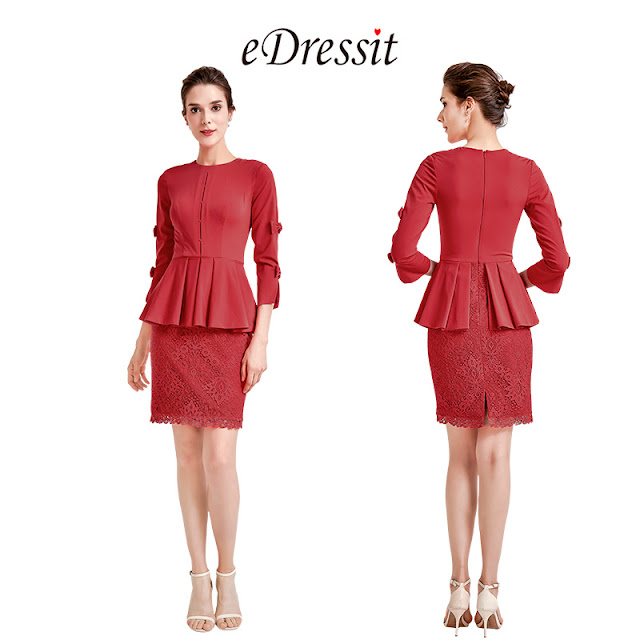 red ruffle party mother of the bride dress