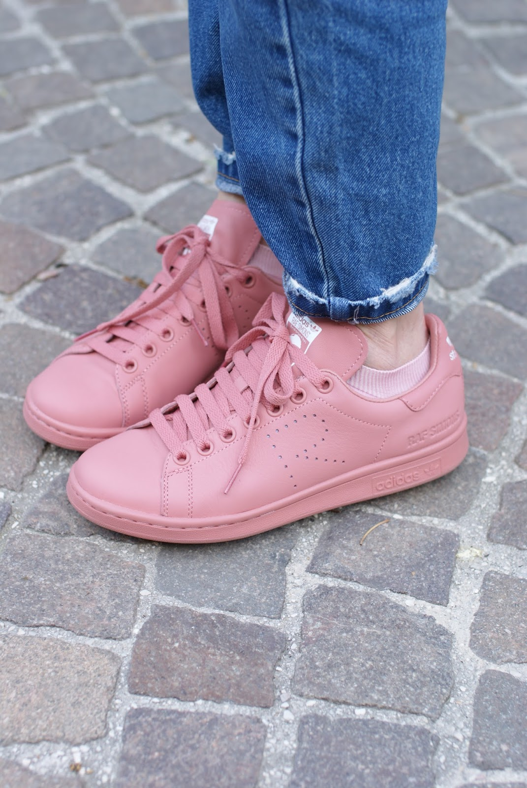 Pink Raf Simons x Adidas Stan Smith sneakers on Fashion and Cookies fashion blog