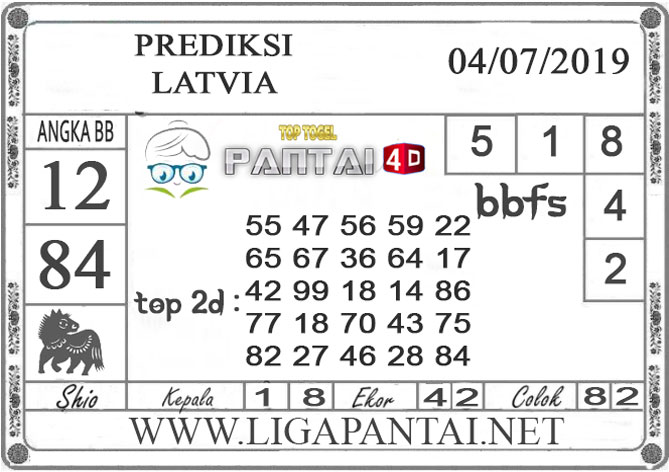 """PREDIKSI TOGEL """"LATVIA"""" PANTAI4D 4 JULI 2019"""