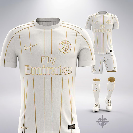 7b6cf2da White and Gold Nike PSG Away Kit Concept by Settpace - Footy ...