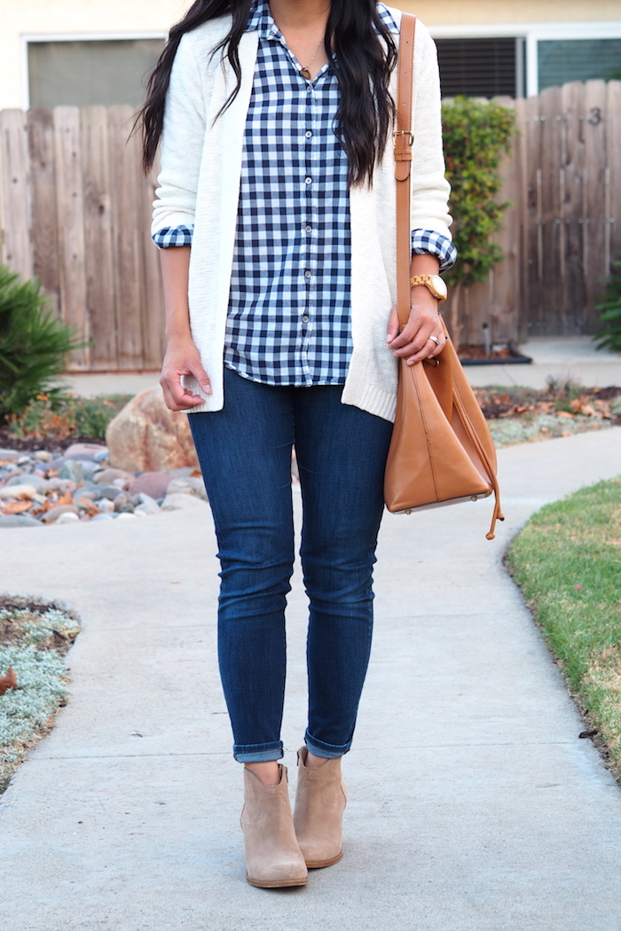Skinny Jeans + Gingham Button up + White Cardigan