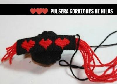 Pulsera corazones de hilos tutorial