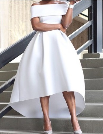 Unusual Princess Off-the-shoulder Satin Asymmetrical Ruffles White High Low Prom Dresses-Price:USD $115.99