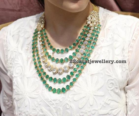 Model in Emerald Diamond Multi Layer Set