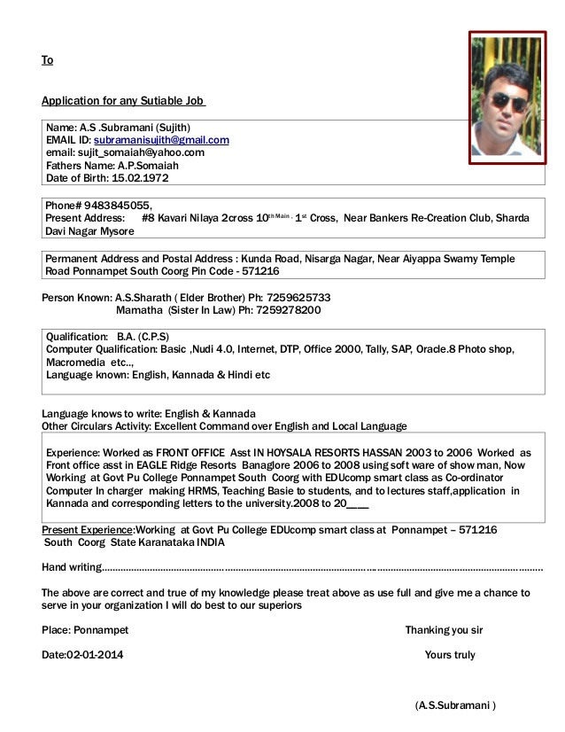 Example Resume For Job Application  Resume Format Download Pdf