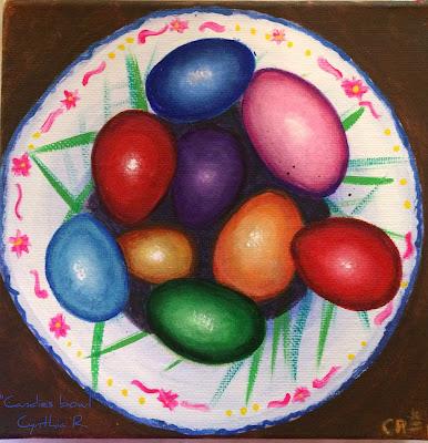 tazón con huevos de pascua, candies bowl, tazón con huevos de colores, pintura acrílica en canvas, acrylic painting on canvas