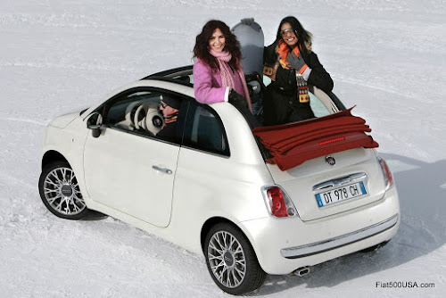 Fiat 500c in the Snow