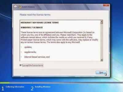 Persetujuan Install Windows 7