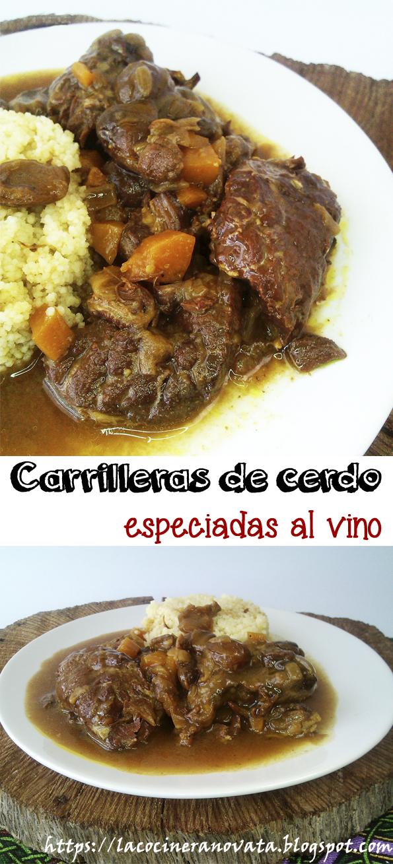CARRILLERAS DE CERDO ESPECIADAS AL VINO RECETA GASTRONOMIA CASQUERIA CARNE COCINA ARABE GUISO SEMOLA COUS COUS CUSCUS la cocinera novata