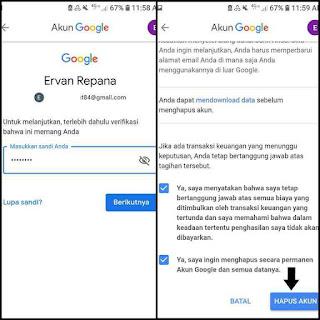 Cara delet google akun permanen di android