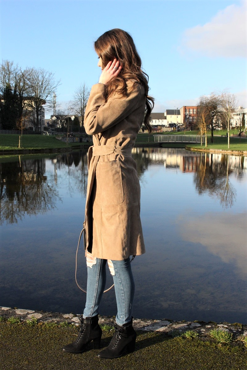 what i wore, how to style long coat, lace-up shoes