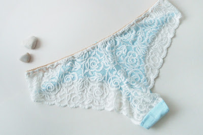 baby blue cotton lacy back Brazilian back cheeky knickers - the lace!