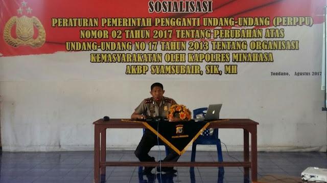 Kapolres Minahasa Sosialisasikan Perppu No 2 Th 2017 Tentang Ormas