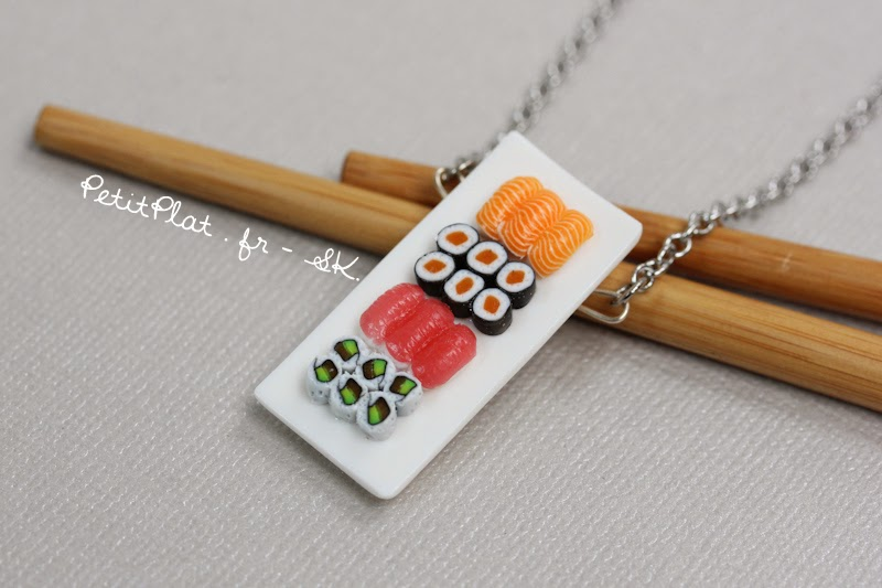 Miniature Sushi Necklace / Collier Sushi Miniature - Stephanie Kilgast
