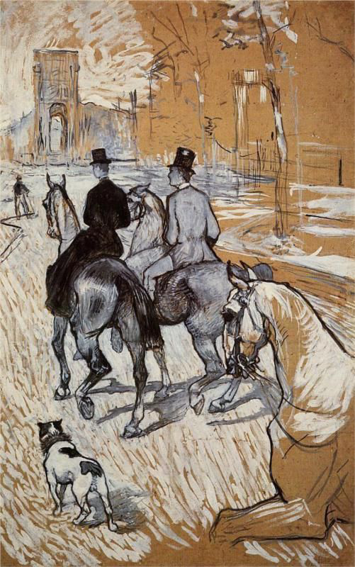 Horsemen Riding on the Bois de Boulogne by Henri de Toulouse-Lautrec