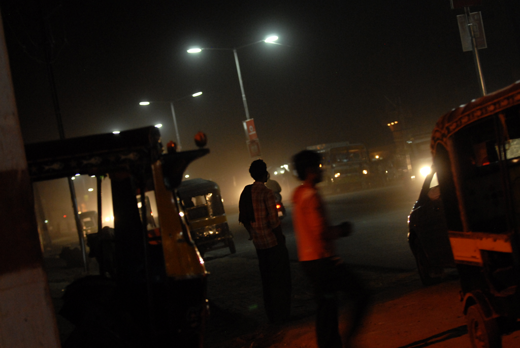Photo of people in the night in India.