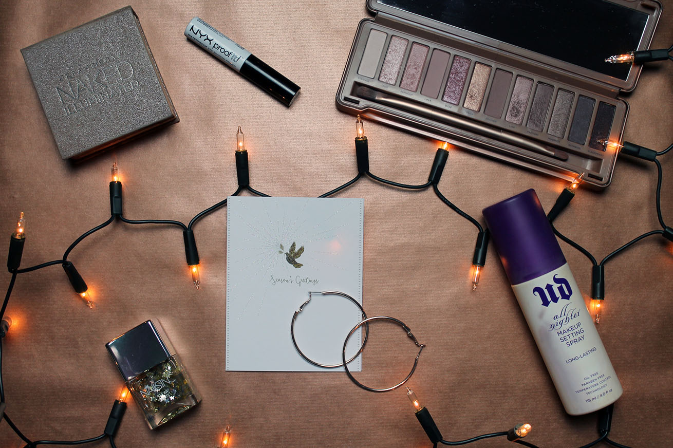 Christmas party essentials; makeup, nail polish and accessories