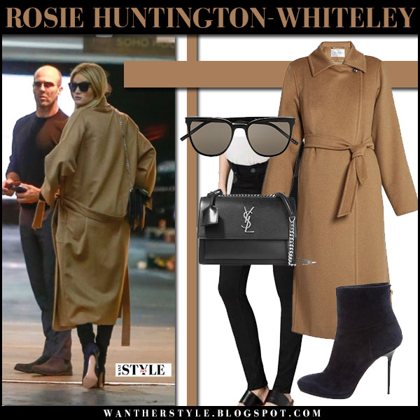 Rosie Huntington-Whiteley in camel maxmara coat, black maternity jeans and ankle boots jimmy choo street style model outfit