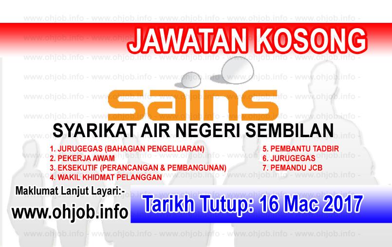 Jawatan Kerja Kosong SAINS - Syarikat Air Negeri Sembilan logo www.ohjob.info mac 2017