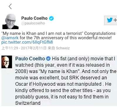My Name Is Khan deserved an Oscar Paulo Coelho