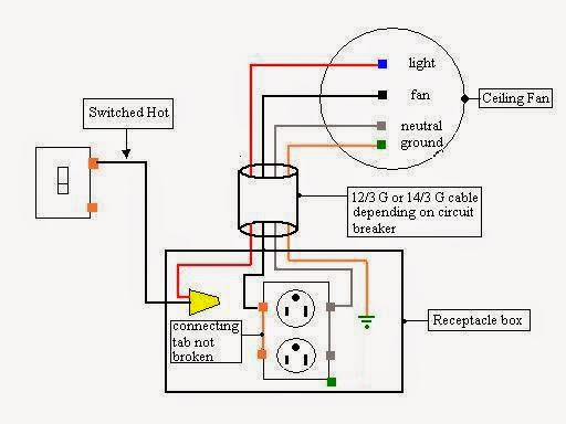 wiring diagram for fan and light switch