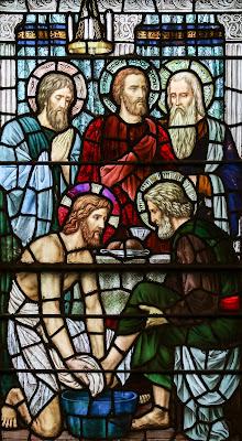 Imagem de Jesus Cristo lavando os pés de São Pedro, vitral, #2