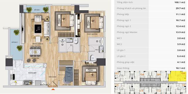 Thiết kế căn A-08 chung cư Mon Central