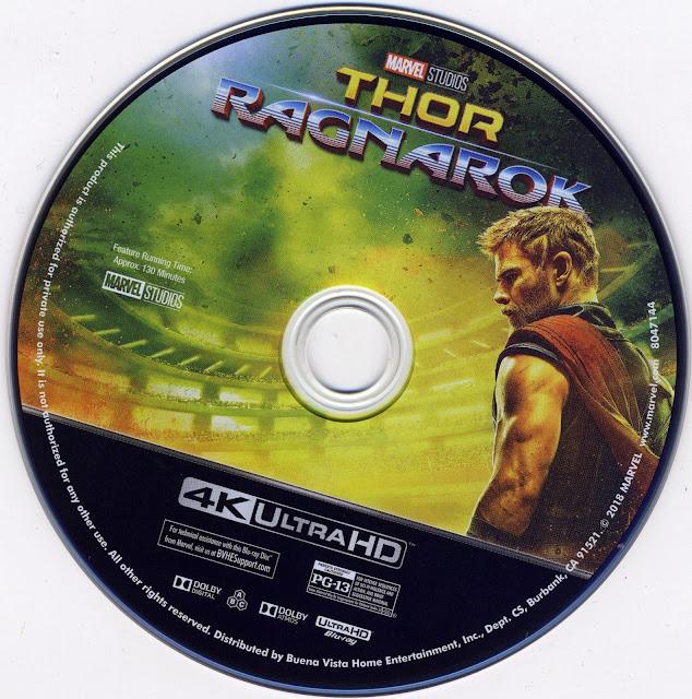 Thor Ragnarok 4K Bluray Label