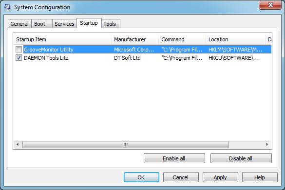Fereastră System Configuration - msconfig