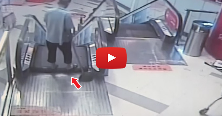 Mall Cleaner got injured after an escalator-related accident in China