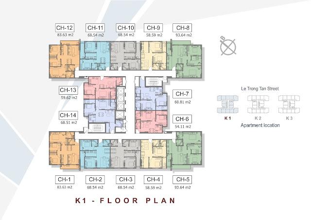 Mặt bằng thiết kế điển hình tòa K1 - THE K PARK