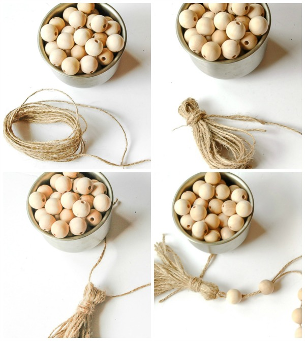 making a diy jute tassel, wood bead garland, garland,
