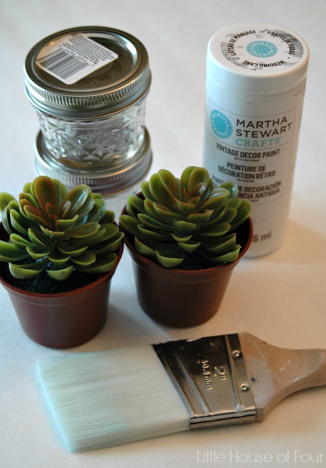 Supplies to make easy dollar store succulents