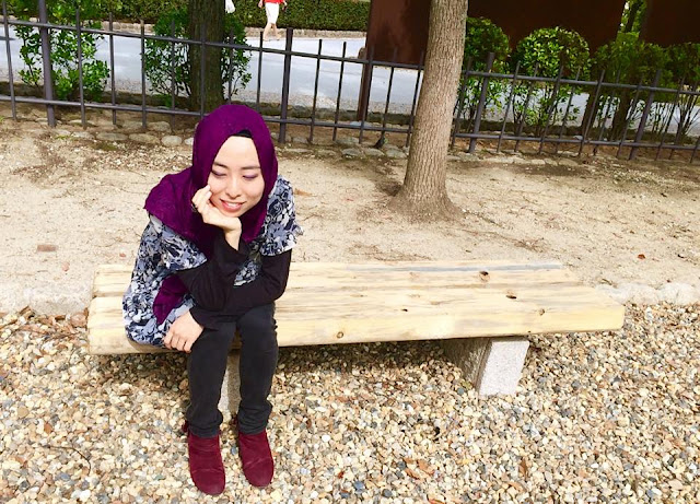 日本人ムスリマのおしゃれ紫ヒジャブ