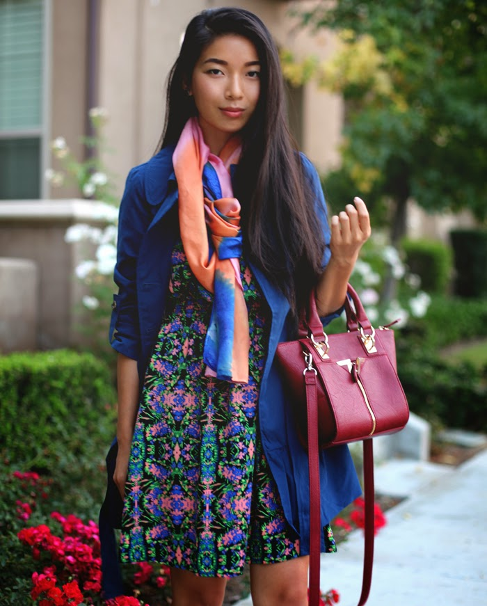 Stephanie Liu of Honey & Silk wearing Everly dress, Tulle coat, Danielle Nicole bag, and Rho scarf