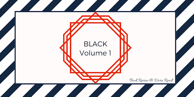 BLACK Volume 1 title image with black and white striped background