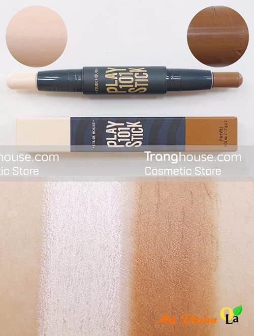 Tạo Khối 2 Đầu Play 101 Stick với 2 màu sáng và tối giúp khuôn mặt thon gọn và xinh xắn hơn