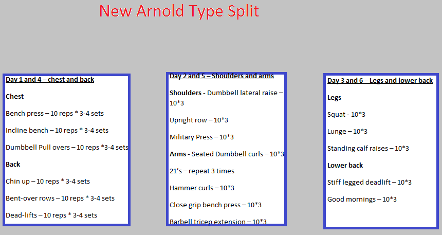 My First Week Training with an Arnold Style Workout Split