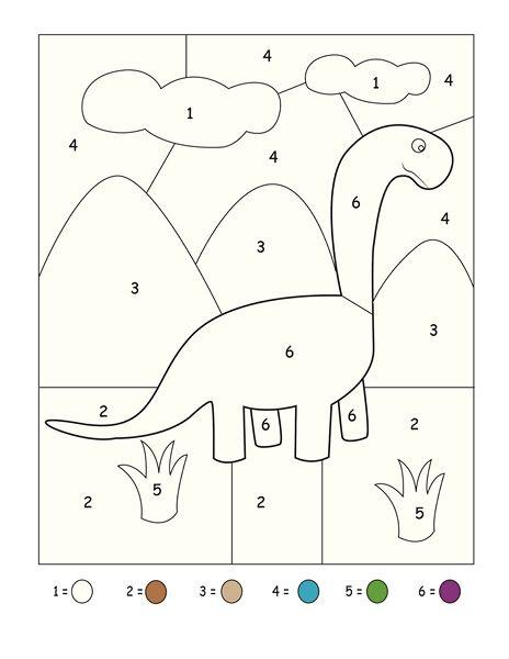 Hình tô màu con khủng long theo số