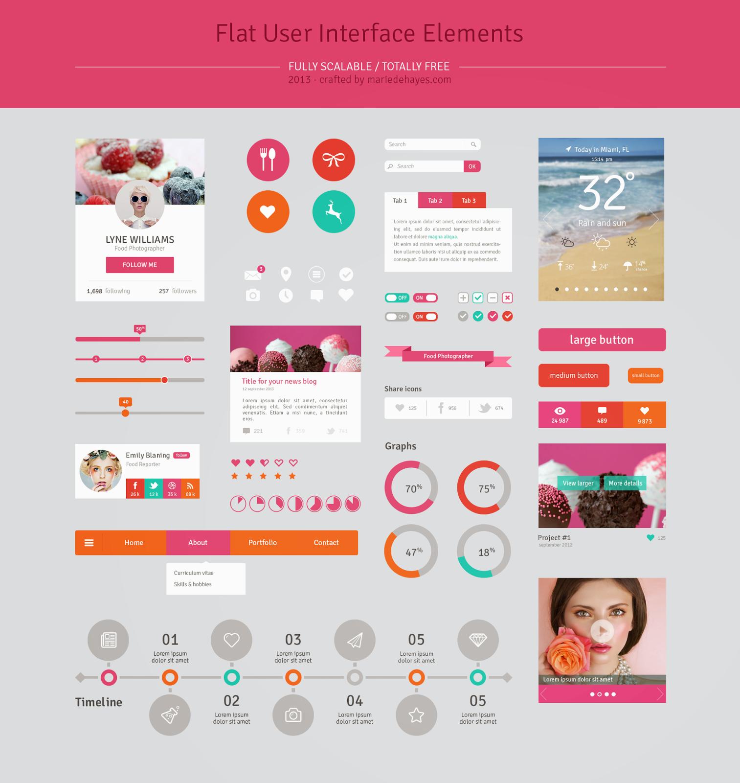 Flat Design User Interface Elements PSD