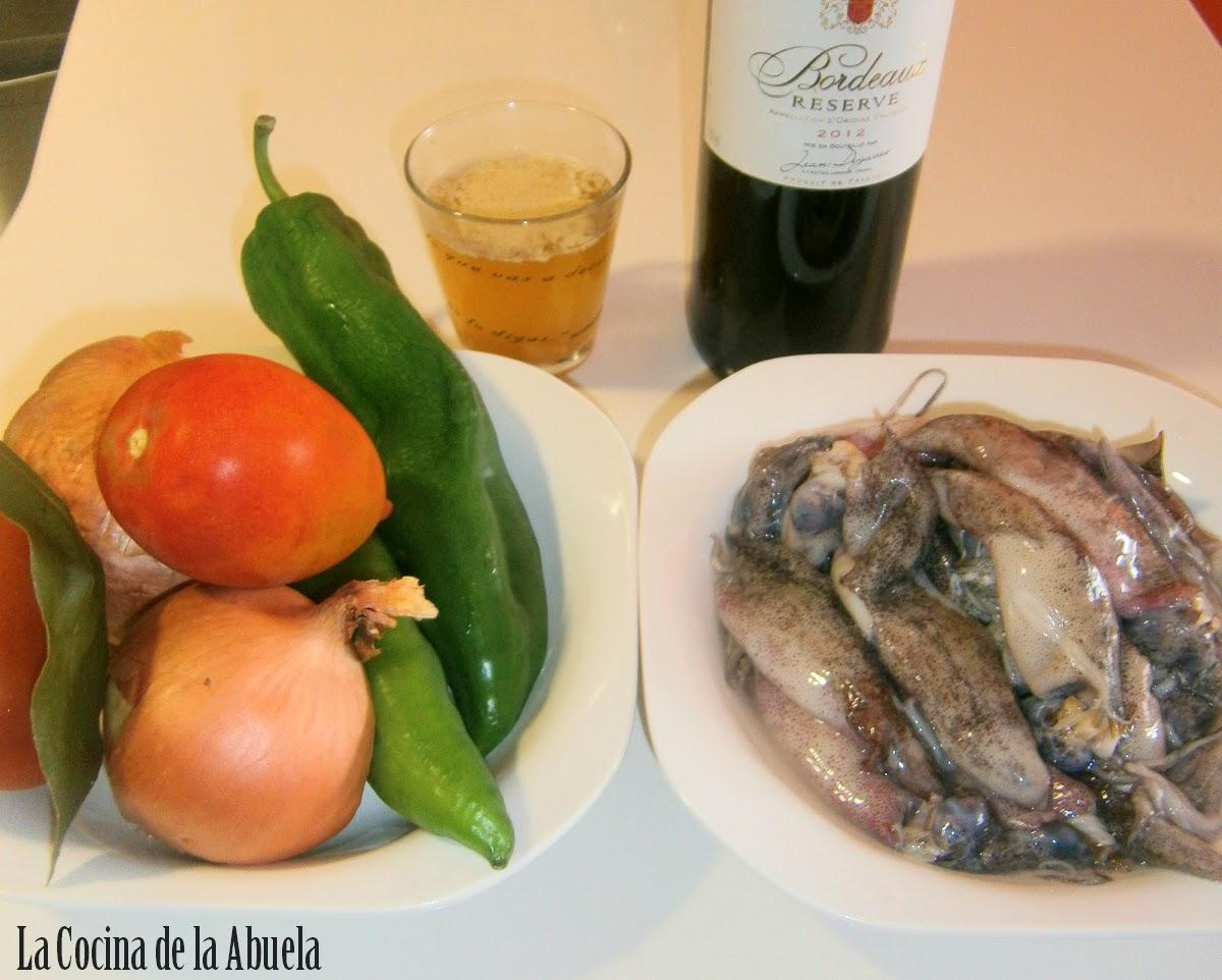 Chipirones en salsa de Vino Tinto.