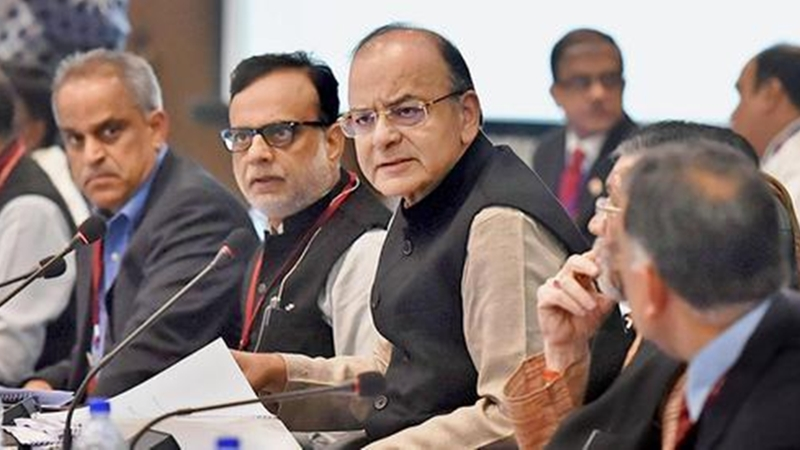 Finance-Minister-Arun-Jaitley-Revenue-Secretary-Hasmukh-Adhia-and-CBEC-Chairman-Najib-Shah-in-a-meeting-of-GST-council