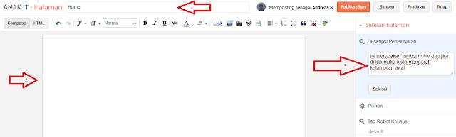 Cara Membuat Halaman Statis di Blogspot Blogger - Cara Membuat Deskripsi Penelusuran Di Blogger