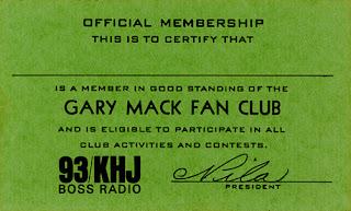Gary Mack Fan Club Membership Card