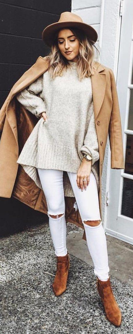 what to wear with a coat : hat + sweater + ripped jeans + boots