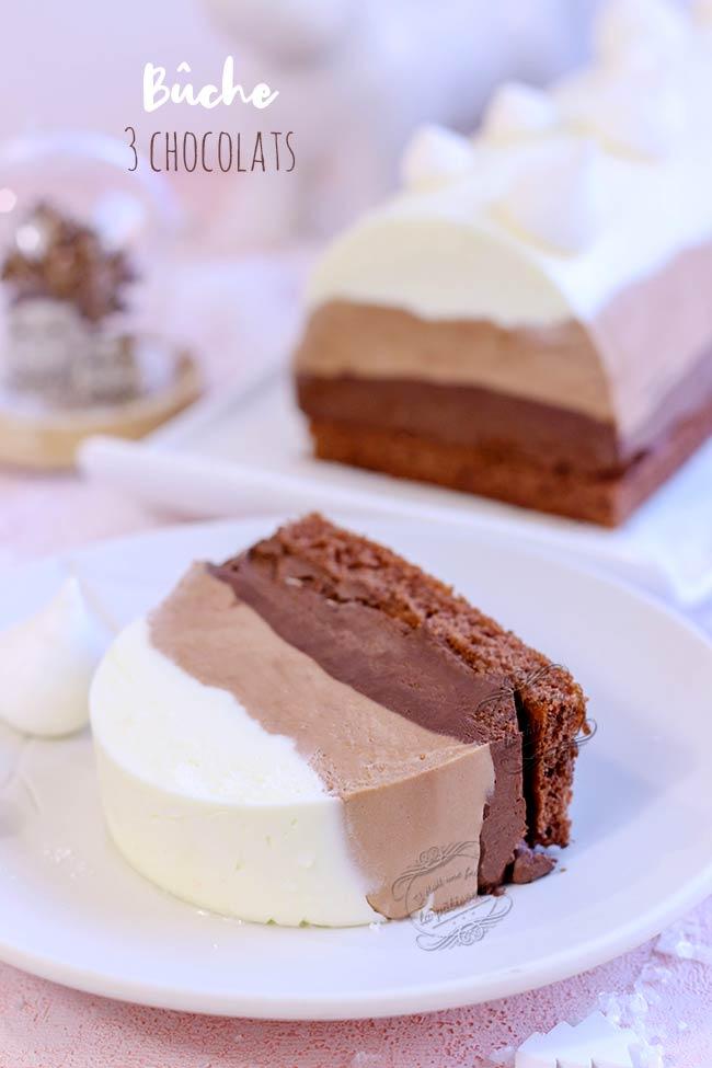 recette bûche aux trois chocolats