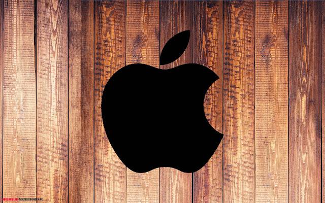 Houten Apple achtergrond met zwarte Apple logo