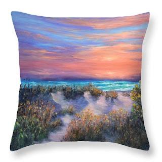 Coastal Home Decor Throw Pillow of Colorful Sunset Beach