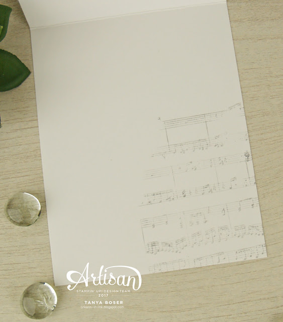 Stampin' Up! Sheet Music background stamp creates a subtle detail to the inside of this card.