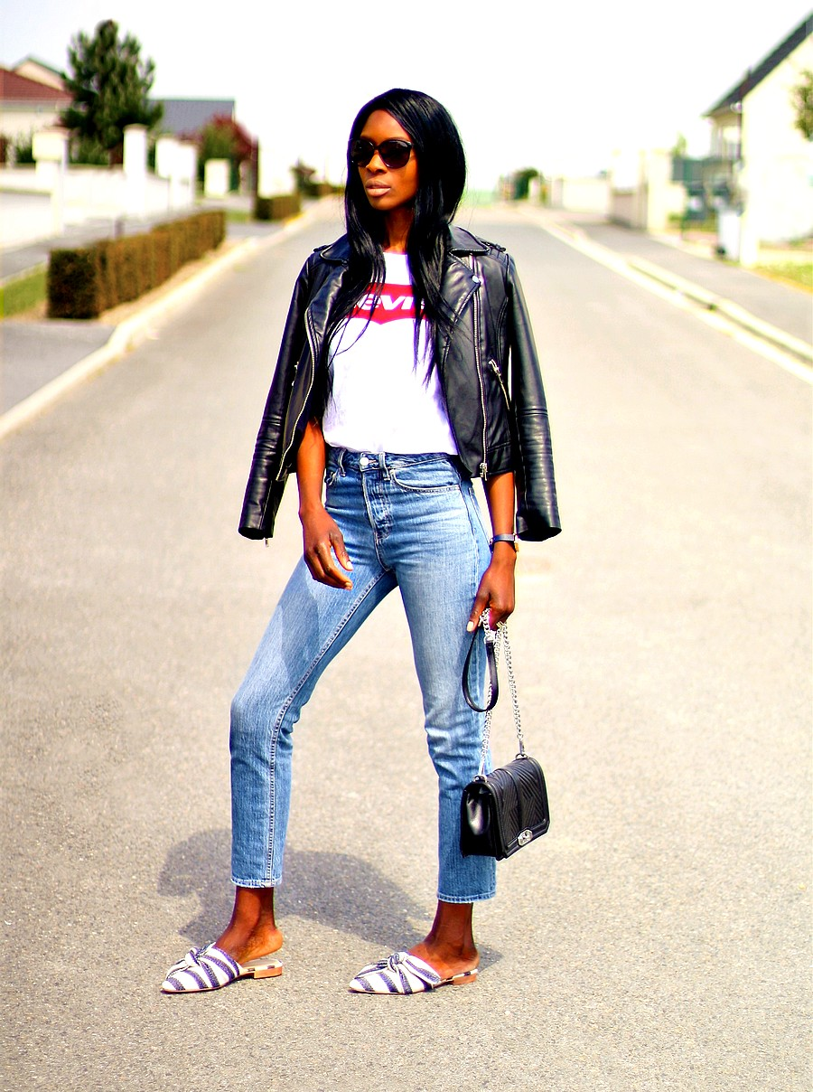 look-blogueuse-mode-style-veste-cuir-jeans-mules-sac-bandouliere